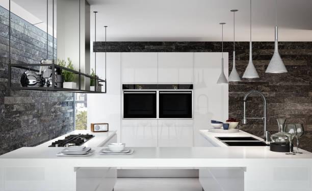 Cuisine blanche au look contemporain et design